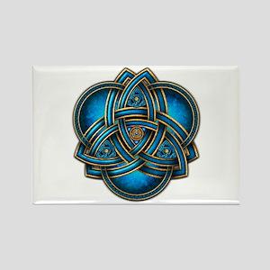 Blue Celtic Triquetra Rectangle Magnet