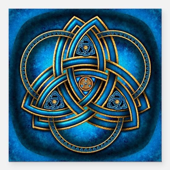 """Blue Celtic Triquetra Square Car Magnet 3"""" x 3"""""""