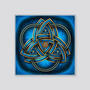 "Blue Celtic Triquetra Square Sticker 3"" x 3"""
