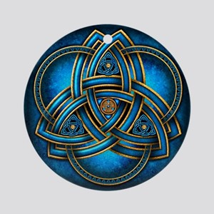 Blue Celtic Triquetra Ornament (Round)