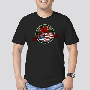 Welsh American 2x Awesome Men's Fitted T-Shirt (da