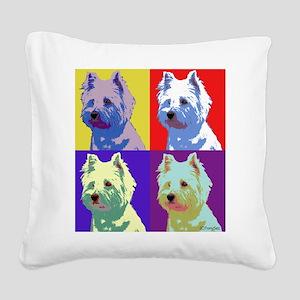 Westie a la Warhol! Square Canvas Pillow