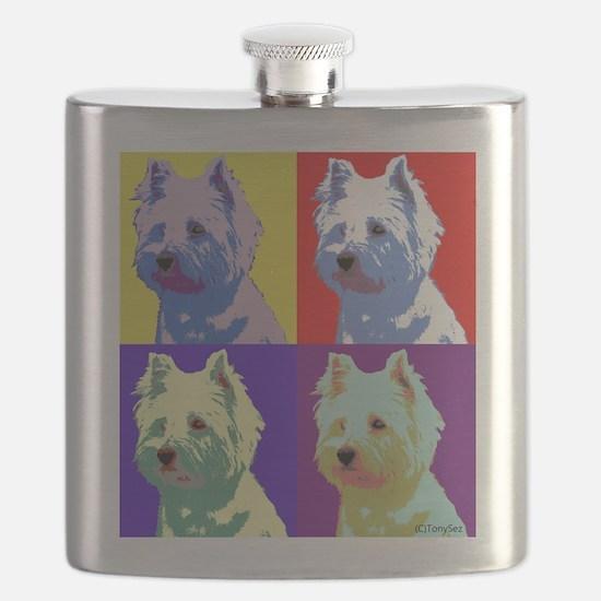 Westie a la Warhol! Flask
