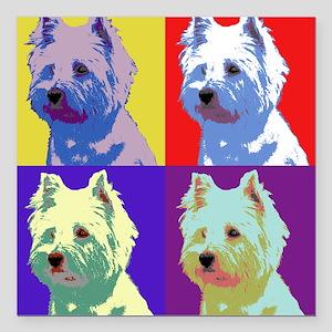 "Westie a la Warhol! Square Car Magnet 3"" x 3"""