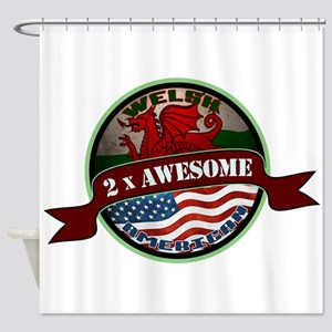Welsh American 2x Awesome Shower Curtain