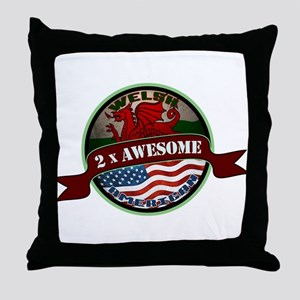Welsh American 2x Awesome Throw Pillow