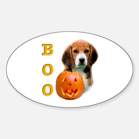 Halloween Beagle Boo Oval Decal