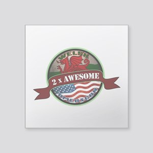 """Welsh American 2x Awesome Square Sticker 3"""" x"""