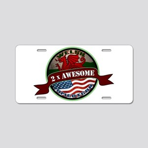 Welsh American 2x Awesome Aluminum License Plate