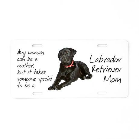 Black Lab Mom Aluminum License Plate