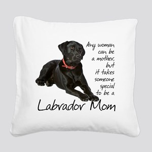 Black Lab Mom Square Canvas Pillow