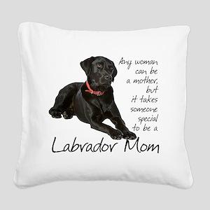 Black Lab Mom Square Canvas Pillow