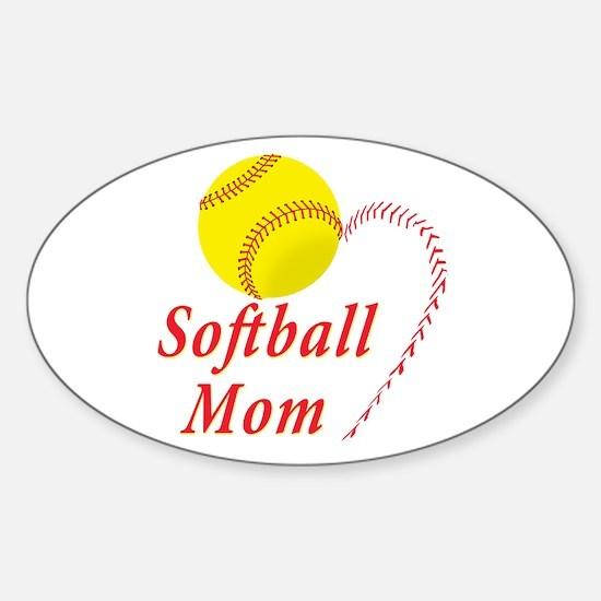 Softball mom Sticker (Oval)
