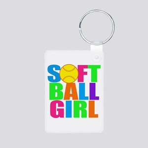 Girls softball Aluminum Photo Keychain