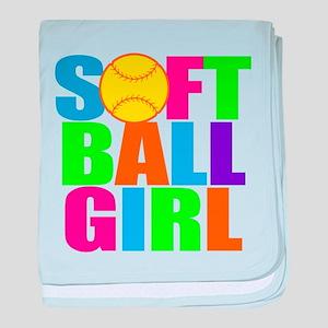 Girls softball baby blanket