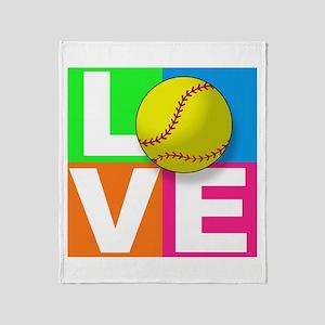 Girls softball Throw Blanket