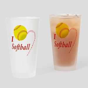 Girls softball Drinking Glass