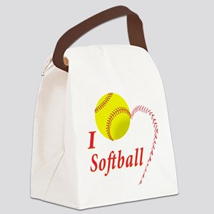 Girls softball Canvas Lunch Bag