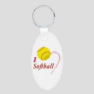 Girls softball Aluminum Oval Keychain