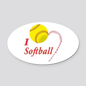 Girls softball Oval Car Magnet