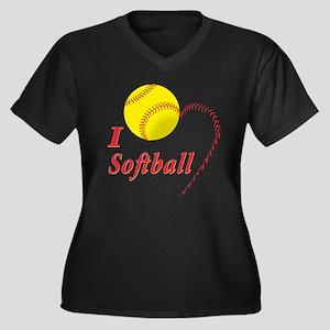 Girls softball Women's Plus Size V-Neck Dark T-Shi