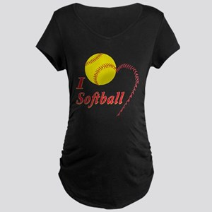 Girls softball Maternity Dark T-Shirt
