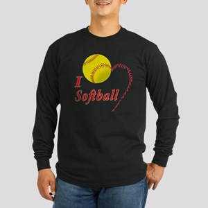 Girls softball Long Sleeve Dark T-Shirt