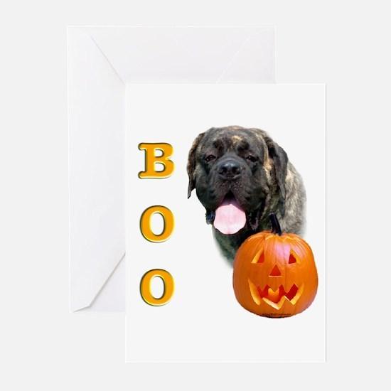 Halloween Brindle Mastiff Boo Greeting Cards (Pack