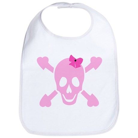 Pink Girl Skull with Hearts and Bow Bib