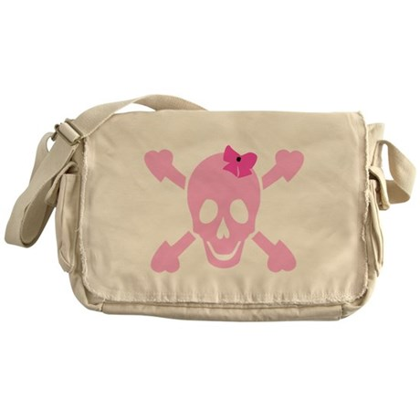 Pink Girl Skull with Hearts and Bow Messenger Bag
