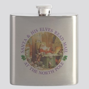 Santa & His Elves Read His Mail Flask
