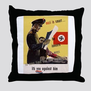 WW2 POSTER A NAZI IS SMART HE INVENTS Throw Pillow