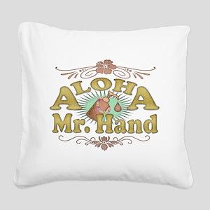 2-aloha-white-distressed Square Canvas Pillow