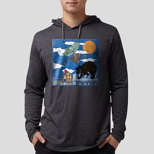 black bobcat and monkey Mens Hooded Shirt