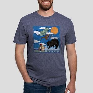 black bobcat and monkey Mens Tri-blend T-Shirt
