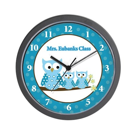 Blue Hoot Owls Teacher Wall Clock