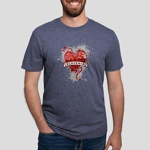 heartSlovenia2 Mens Tri-blend T-Shirt