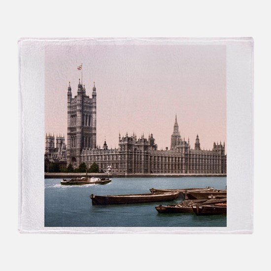 Vintage Houses of Parliament Throw Blanket