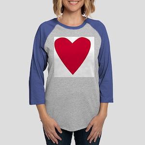 Red Single Heart Womens Baseball Tee