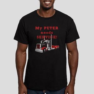 My PETER needs SERVICE! Men's Fitted T-Shirt (dark