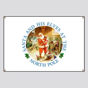 Santa & His Elves at the North Pole Stable Banner