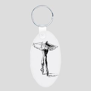 Ballet Aluminum Oval Keychain