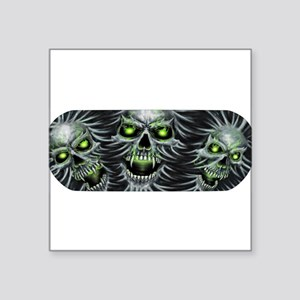 "Green-Eyed Skulls Square Sticker 3"" x 3"""