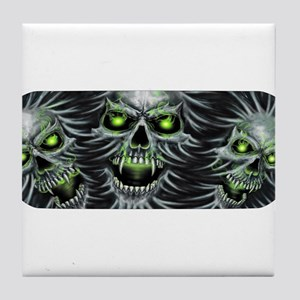 Green-Eyed Skulls Tile Coaster