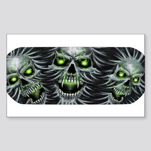 Green-Eyed Skulls Sticker (Rectangle)