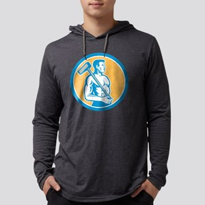 Union Worker With Sledgehammer C Mens Hooded Shirt