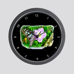 Butterfly Flower Black Wall Clock