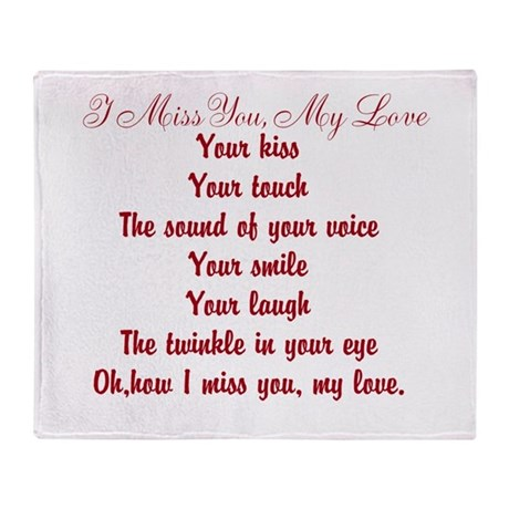 I Miss You My Love Poem Throw Blanket By Poemsbygenieve