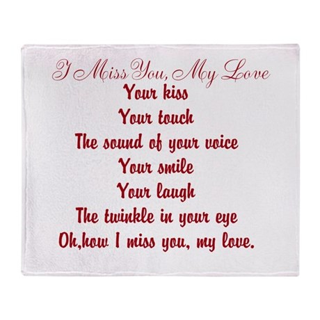 I Miss You My Love Poem Throw Blanket By Poemsbygenieve