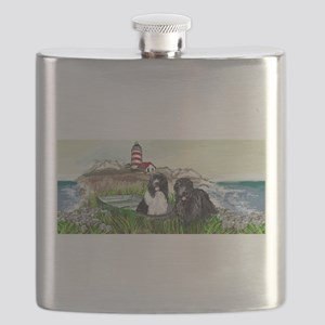 Two Newfs Seascape Flask